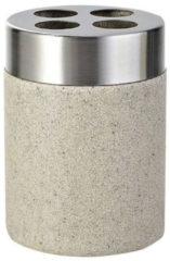 Tandenborstelhouder Sapho Stone Vrijstaand 10.2x7.5 cm Polyresin Beige