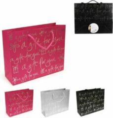 B-home-interieur.be Geschenk zakjes - Gift Bag - 20cm x 25cm x 8cm - Roze - Grijs - zwart- 3 stuks