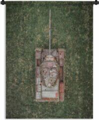 1001Tapestries Wandkleed Tanks - Drone shot van een verlaten tank Wandkleed katoen 120x160 cm - Wandtapijt met foto XXL / Groot formaat!