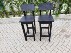 Zwarte KSM-Steigerhout 2 stuks kruk barkruk Back van Black Wash steigerhout voor bij een bar tafel / sta tafel