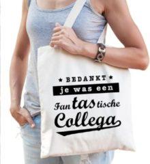 Creme witte Shoppartners Cadeau tas naturel katoen met de tekst Fantastische collega - kadotasje / shopper voor collega dames