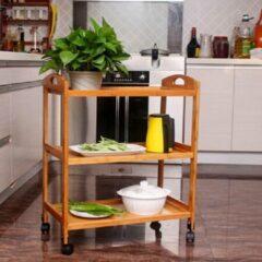 Decopatent® Keukentrolley op wieltjes - 3 laags bamboe houten keukenwagen - serveerwagen trolley met 4 wielen - keuken trolley