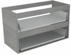 Sub 16 wastafelonderkast met 2 lades zonder fronten 70 x 52 cm, essen grijs