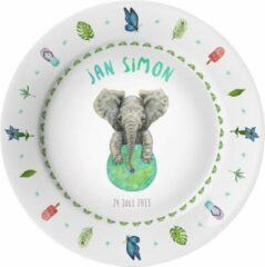 Groene Mies To Go Gepersonaliseerd kunststof eetbordje - baby - kind - olifant - kraamcadeau - verjaardag - handgeschilderd door Mies - aquarel