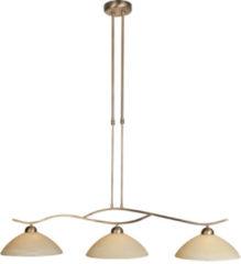 Bruine Steinhauer Capri - Hanglamp - 3 lichts - Brons - Crème albast glas