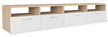 Afbeelding van Bruine VidaXL Tv-meubels 95x35x36 cm spaanplaat eikenkleurig en wit 2 st
