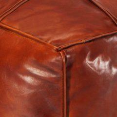 Bruine VidaXL Poef 60x60x30 cm echt geitenleer tan