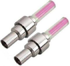 Merkloos / Sans marque Fietswielverlichting firefly ventiel LED lampjes roze 2 stuks