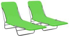 VidaXL Ligbedden inklapbaar 2 st staal en stof groen