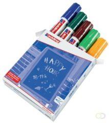 Blauwe Edding 4090/5 krijtmarker assorti kleuren - krijtmarkers - raamstift - raamstiften - chalkmarker -– krijtstift – glasstift – schoolbordstift – krijtbordstift – stoepbordstift