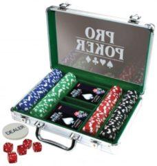 Grijze Selecta Spel en Hobby Pro Poker Case met 200 Chips van 11.5 Gram