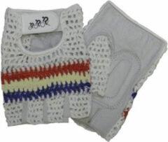 HZB fietshandschoenen Crochet leer/gel wit/blauw/rood maat L