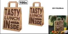 Bruine Thema party 100x Draagtas papier 22+10x28cm Tasty Lunch Bag - take away lunch eten diner food festival thema feest tas kraft