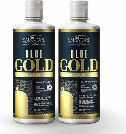 Afbeelding van Lissage tanin SALVATORE BLUE GOLD Classic 2x1 L Lissage bresilien Sans Formol