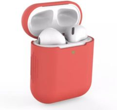 Airpodhoes Bescherm Hoes Cover Case voor Apple AirPods (Siliconen) - Rood