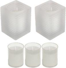 Transparante Candles by Spaas 2x Matte glazen kaarsenhouders met kaars en 3x navullingen 7 x 10 cm 24 branduren - Geurloze kaarsen - Woondecoraties