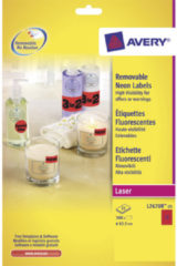 Laseretiket Avery rond 63,5mm fluorrood 25 vel 12 etiketten per vel