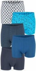 Marineblauwe Boxershorts G Gregory 1x marine, 1x azuur, 1x gestreept, 1x wit/marine, 1x turquoise met stippen