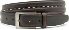 JV Belts Bruine jeansriem met wit stiksel