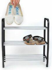 Zilveren WiseGoods - Schoenenrek - Schoenrek met 3 Lagen - Rek voor Schoenen - Zwart - Schoen Kast - Schoenen Organiser - Schoenenkast