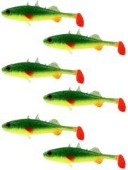 Groene Westin Stanley the Stickleback Shadtail - Fireflake - 7.5cm - 4g - 6 Stuks - Geel