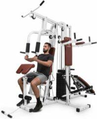 Witte Klarfit Ultimate Gym 9000 Krachtstation - multifunctioneel trainingsstation voor meer dan 100 oefeningen - 7 stations tot 150 kg - QR staal