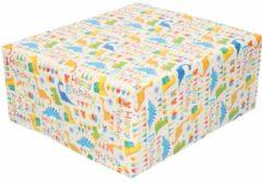 Merkloos / Sans marque Inpakpapier/cadeaupapier wit Happy Birthday 200x70 cm - kadopapier / cadeaupapier/papier