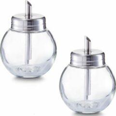Transparante Zeller 2x Suikerstrooiers rond van glas/metaal 240 ml - Keukenbenodigdheden - Keukenaccessoires - Suikerstrooiers/suikerpotjes voor thuis en in de horeca