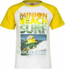 Minions Minion t-shirt - Beach Surf - geel/wit - maat 122/128 (8 jaar)