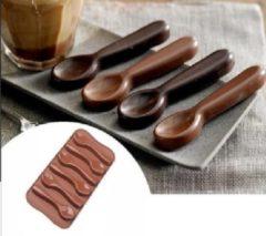 Akyol Chocolade Lepel - siliconen vorm voor ijsblokjes chocolade fondant - Bakken - Keukenaccessoires -siliconen chocolade lepel- - Koken - Chef - Taarten - Cadeau - Chocolate spoon