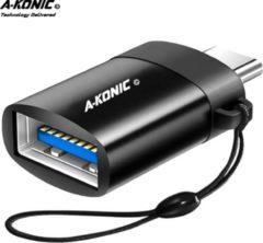 Zwarte A-Konic© USB-A naar USB-C adapter OTG Converter USB 3.0 | USB C to USB A HUB | geschikt voor Apple MacBook / iMac / Ultrabook / Surface Book 2