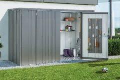 Grijze Biohort Tuinkast GR230 donkergroen 2 deurs - 227x83x182,5cm