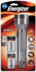 Zilveren Energizer zaklamp Metal LED 2D inclusief 2 D batterijen blisterverpakking