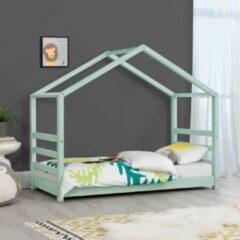 En.casa Kinderbed houten bed huisbed met bedbodem 70x140 cm mint