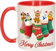 Bellatio Decorations Kerstmis cadeau mok - Merry Christmas - diertjes in kerstsokjes - 300 ml - keramiek - mokken / beker - Kerst servies
