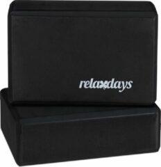 Relaxdays yoga blok - set van 2 - hardschuim - verschillende kleuren zwart