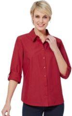 Rode Casual Looks blouse met knoop aan de manchetten