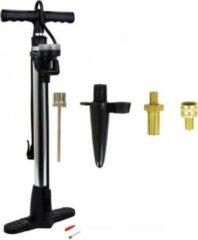 Zwarte Merkloos / Sans marque Luxe fietspomp met manometer inclusief 4-delige nippelset - Fietsband oppompen - Fietspompen - Voor alle ventielen