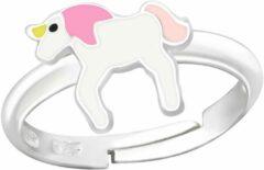 WeLoveSilver Zilveren ring eenhoorn roze
