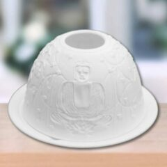 Witte Sweet Lake Company Porseleinen Tealightholder (theelichthouder) Buddha