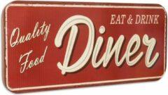 "Rode Trendybywave Wandbord vintage - ""Quality food Diner"" - Tinnen wandplaat - 46 cm hoog"