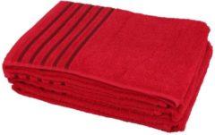 CLASS HOME COLLECTION Duschtuch rot mit Streifen, 70 x 140 cm, 2er-Set