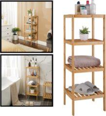 Opbergrek van bamboe hout - Als open badkamerrek, schoenenrek of keukenrek - Opbergkast met 4 verstelbare etages / planken - Rek voor badkamer, keuken en hal - 33 cm breed - Decopatent®