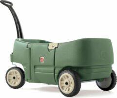 Groene Step2 Bolderkar Wagon for Two Plus - Kunsstof bolderwagen - 2 zitjes met gordels