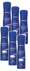 NIVEA Protect & Care Spray Deodorant Spray - 6 x 150 ml - Voordeelverpakking