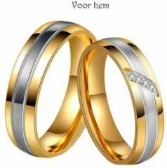 Zoëies® goudkleurige liefdesring voor hem zonder steentjes 17 mm