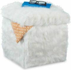 Witte Relaxdays poef met opbergruimte - pluche - hocker - zitbank - voetenbank - opbergbox