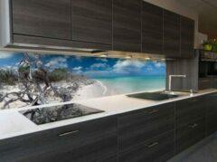 Blauwe SoWhat-design Cayo-Jutias keuken achterwand 305 x 50 cm