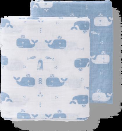 Afbeelding van Blauwe Fresk Whale swaddle inbakerdoek van biologisch katoen in 2-pack