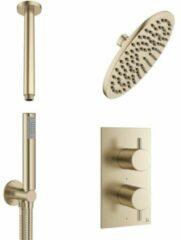 Crosswater MPRO regendouche 20cm inclusief inbouw thermostatische douchekraan, plafondarm en handdouche in geborsteld messing (goud) PRO1510RM+